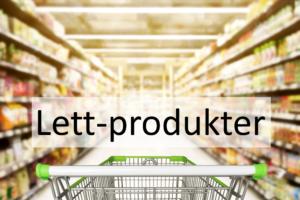 handlevogn i butikk med tekst Lett-produkter
